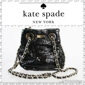 Kate Spade black patent crocodile leather mini bag